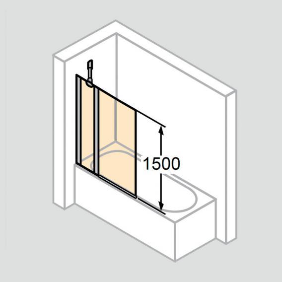 HÜPPE Design pure Badewannenabtrennung 1-teilig mit festem Segment ESG klar / silber matt