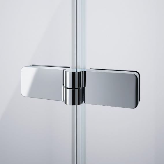 HÜPPE Design pure Badewannenabtrennung Schwingfalttür 3-teilig ESG klar mit ANTI-PLAQUE / silber matt
