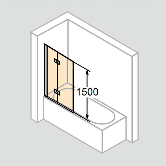 HÜPPE Design pure Badewannenabtrennung Schwingfalttür ESG klar / chrom