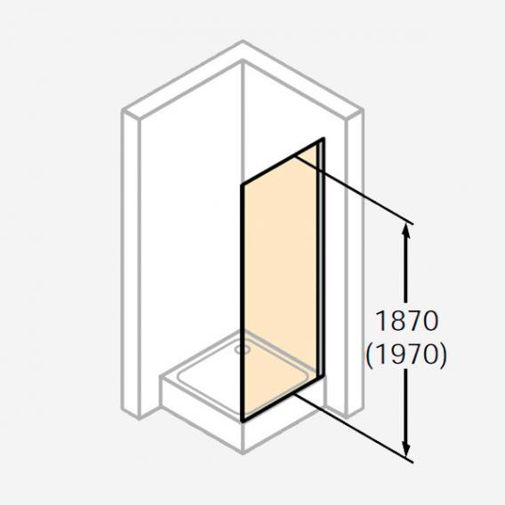 HÜPPE Design pure bewegliche Seitenwand für Schwingtür ESG klar mit ANTI-PLAQUE / silber matt