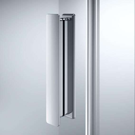 HÜPPE Design pure Gleittür 2-teilig mit festen Segmenten ESG klar mit ANTI-PLAQUE / silber matt