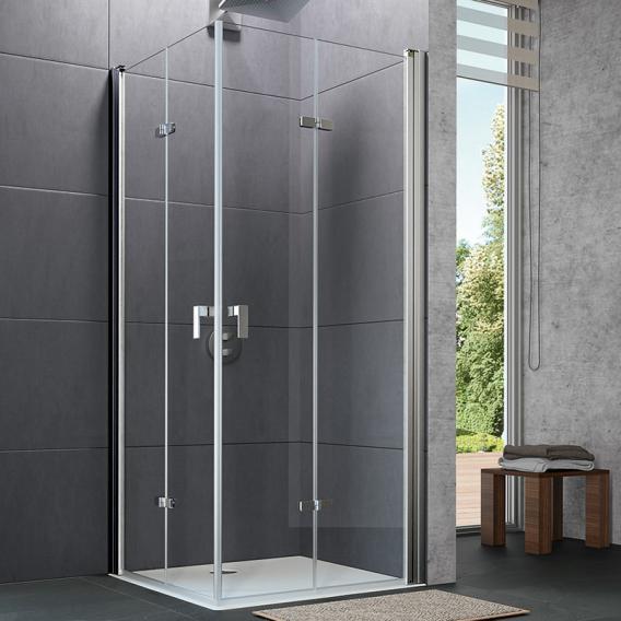 HÜPPE Design pure Schwingfalttür ESG klar mit ANTI-PLAQUE / chrom