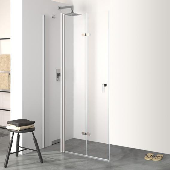 HÜPPE Design pure Schwingfalttür mit festem Segment ESG klar mit ANTI-PLAQUE / silber matt