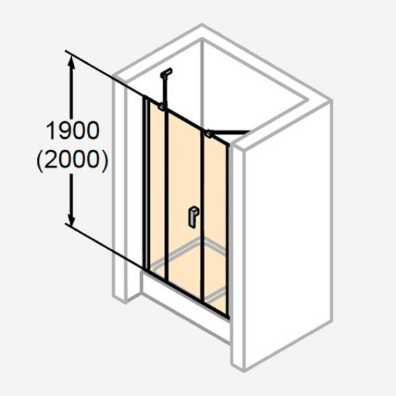 HÜPPE Design pure Schwingtür mit festem Segment und Nebenteil in Nische ESG klar / silber matt