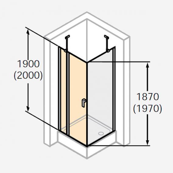 HÜPPE Design pure Schwingtür mit festen Segmenten ESG privatima mit ANTI-PLAQUE / silber matt