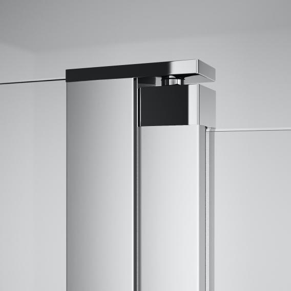 HÜPPE Design pure Schwingtür mit festen Segmenten mit Innen-/Außenöffnung für Kombination mit Seitenwand ESG klar / silber matt
