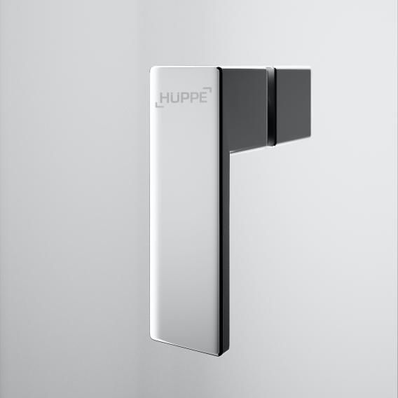 HÜPPE Design pure Schwingtür mit Innen-/Außenöffnung für Seitenwand ESG klar mit ANTI-PLAQUE / silber matt