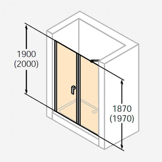 HÜPPE Design pure Schwingtür mit Nebenteil in Nische ESG klar / silber matt