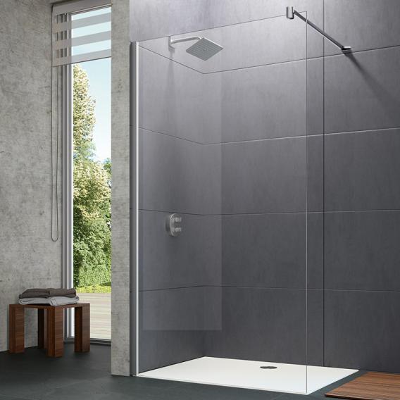 HÜPPE Design pure Seitenwand alleinstehend ESG klar mit ANTI-PLAQUE / silber matt