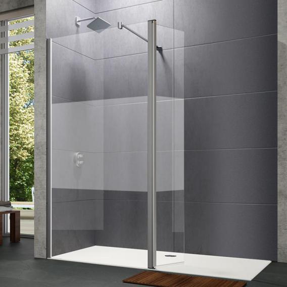 HÜPPE Design pure Walk In Seitenwand mit beweglichem Segement ESG privatima mit ANTI-PLAQUE / silber matt