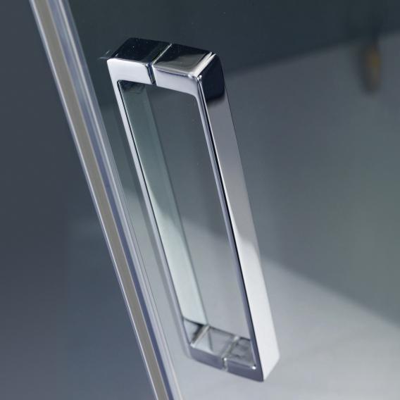 HÜPPE Refresh pure 1/4 Kreis Schwingtür mit festen Segmenten 2-flügelig ESG klar / titan silber