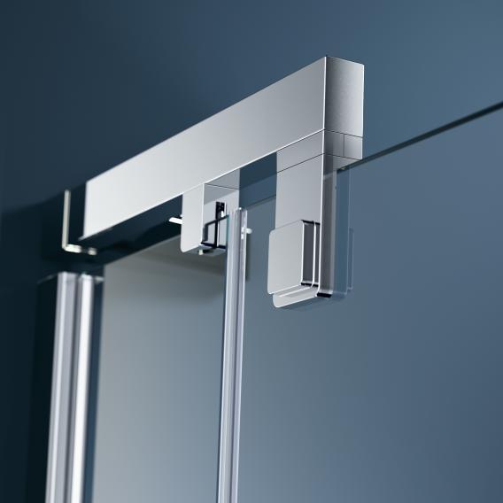 HÜPPE Refresh pure Schwingtür für Seitenwand ESG klar mit ANTI-PLAQUE / titan silber
