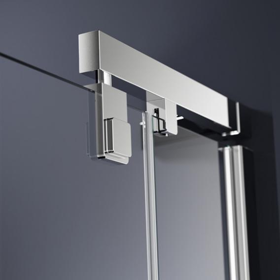 HÜPPE Refresh pure Schwingtür mit festem Segment für Seitenwand ESG klar mit ANTI-PLAQUE / silber matt