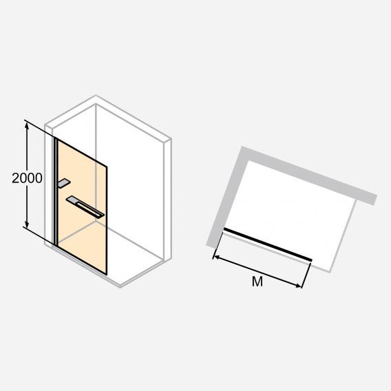 HÜPPE Select+ Seitenwand alleinstehend 10 mm ESG klar mit ANTI-PLAQUE / silber matt