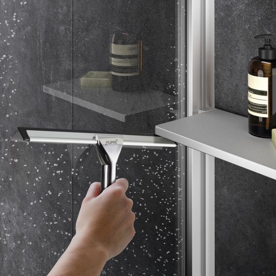 HÜPPE Select+ Seitenwand alleinstehend 6/8 mm ESG klar mit ANTI-PLAQUE / black edition