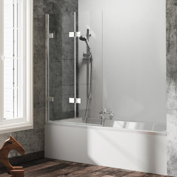 HÜPPE Solva pure teilgerahmte Badewannenabtrennung Schwingfalttür ESG klar mit ANTI-PLAQUE / silber hochglanz