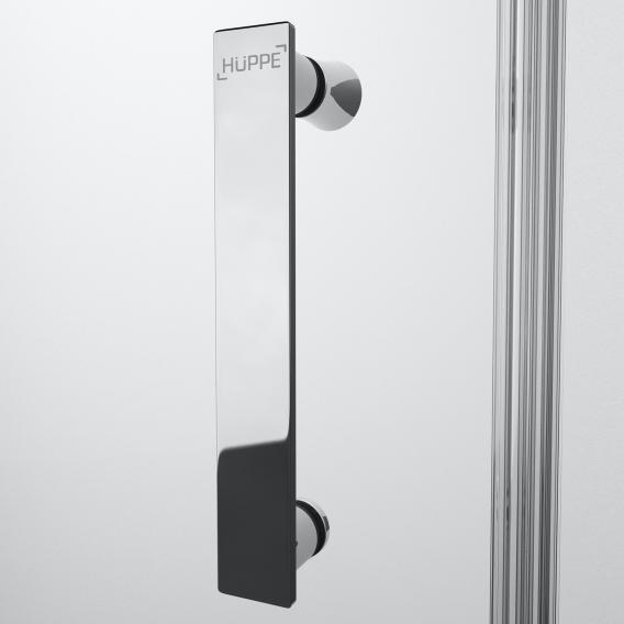 HÜPPE Solva pure teilgerahmte Schwingtür mit festem Segment in Nische ESG klar / chrom