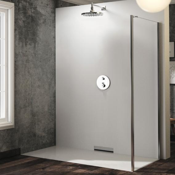 HÜPPE Solva pure teilgerahmte Seitenwand für Tür mit festem Segment und Nebenteil ESG klar mit ANTI-PLAQUE / silber hochglanz