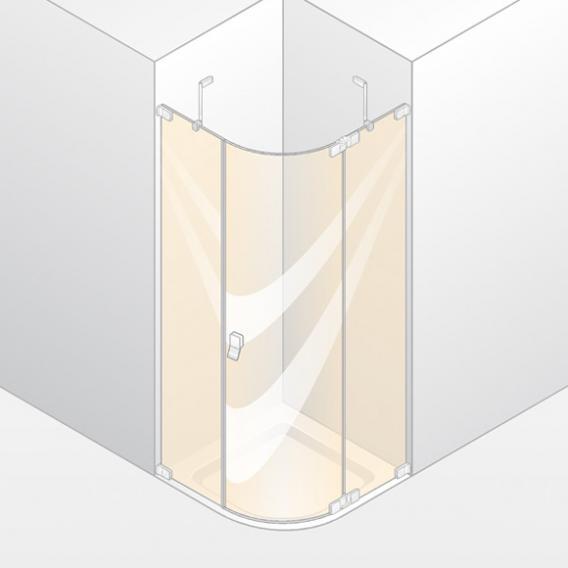 HÜPPE Studio Berlin pure rahmenlose 1/4 Kreis Schwingtür mit festen Segmenten 1-flügelig ESG klar mit ANTI-PLAQUE / chrom