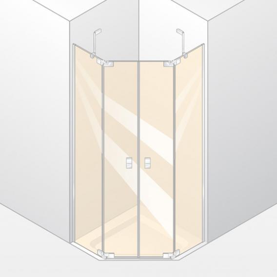 HÜPPE Studio Berlin pure teilgerahmte 5-Eck Schwingtür mit festen Segmenten 2-flügelig ESG klar mit ANTI-PLAQUE / chrom