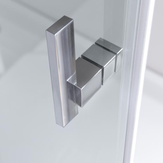 HÜPPE Vista pure teilgerahmte Gleittür 1-teilig mit festem Segment und Seitenwand ESG klar mit ANTI-PLAQUE / chrom