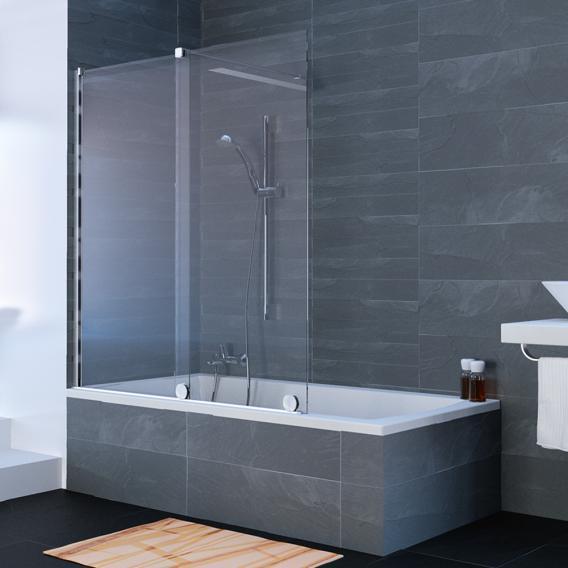 HÜPPE Xtensa pure Badewannenabtrennung Gleittür 1-teilig mit festem Segment ESG klar mit ANTI-PLAQUE / silber hochglanz