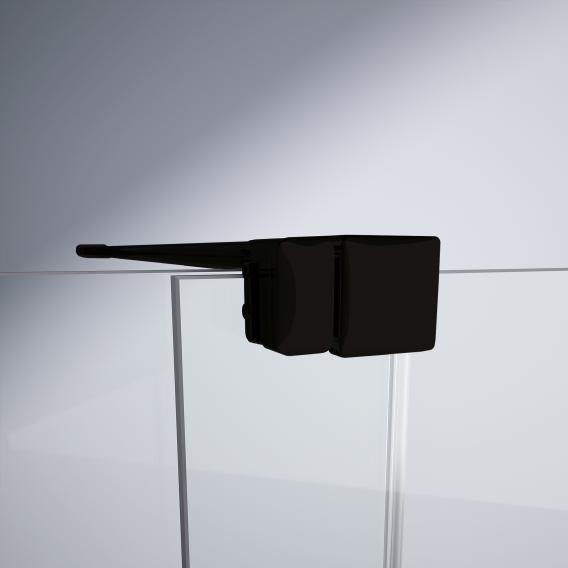 HÜPPE Xtensa pure Badewannenabtrennung Gleittür 1-teilig mit festem Segment ESG klar mit ANTI-PLAQUE / black edition