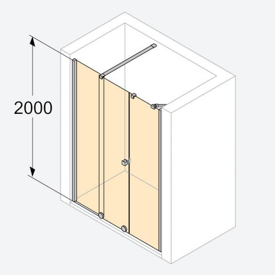 HÜPPE Xtensa pure Gleittür 1-teilig mit festem Segment und Nebenteil ESG klar mit ANTI-PLAQUE / silber hochglanz