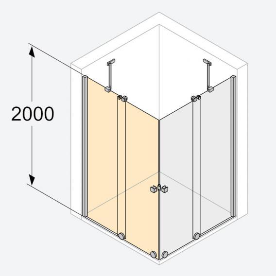 HÜPPE Xtensa pure Gleittüreckeinstieg 2-teilig ESG klar mit ANTI-PLAQUE / silber hochglanz