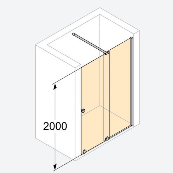 HÜPPE Xtensa pure Walk In Gleittür 1-teilig mit festem Segment ESG klar mit ANTI-PLAQUE / silber hochglanz