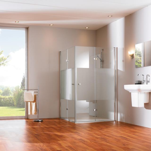 HÜPPE 501 Design pure Schwingfalttür ESG klar mit ANTI-PLAQUE / silber hochglanz