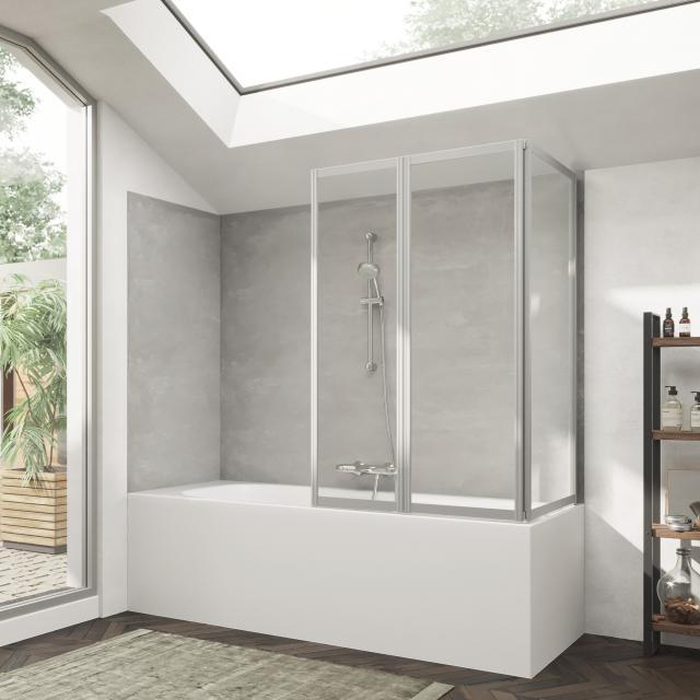 HÜPPE Combinett 2 Badewannenabtrennung mit breitem 1. Segment ESG klar / silber matt