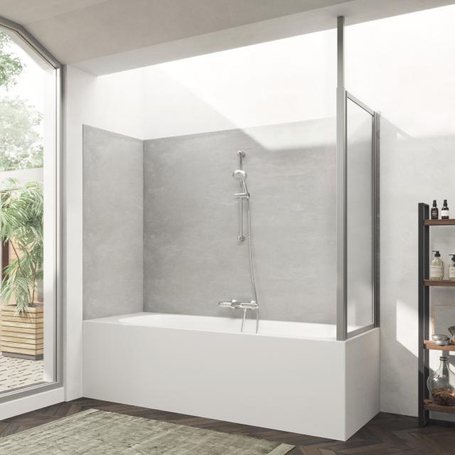 HÜPPE Combinett 2 Seitenwand für Badewannenabtrennung Kunstglas pacific S klar / silber matt