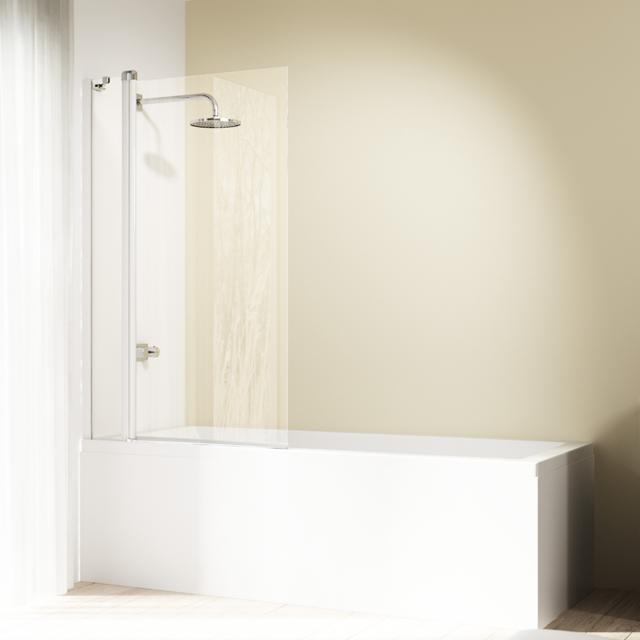 HÜPPE Design elegance Badewannenabtrennung 1-teilig mit festem Segment ESG klar / silber matt