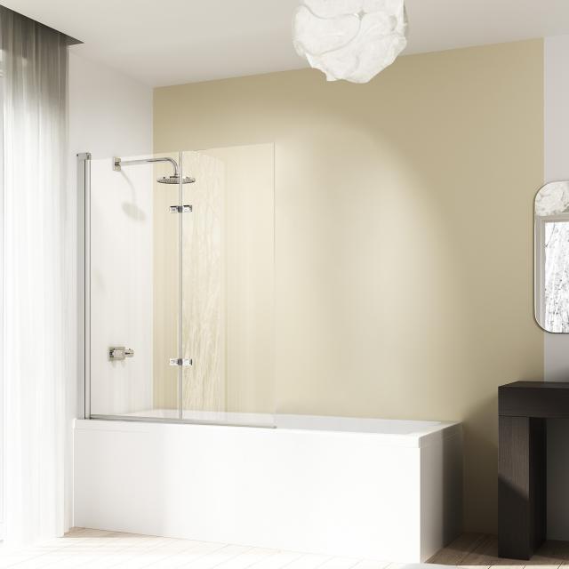 HÜPPE Design elegance Badewannenabtrennung Schwingfalttür ESG klar / silber matt