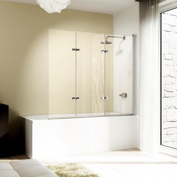 HÜPPE Design elegance Badewannenabtrennung Schwingfalttür 3-teilig ESG klar / silber matt