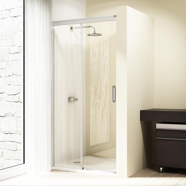 HÜPPE Design elegance Gleittür 1-teilig mit festem Segment ESG klar mit ANTI-PLAQUE / silber hochglanz