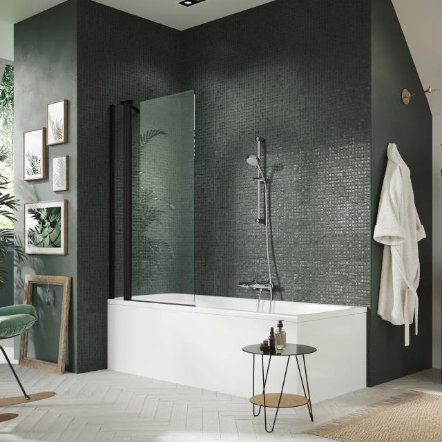 HÜPPE Design pure Badewannenabtrennung 1-teilig mit festem Segment ESG klar / black edition