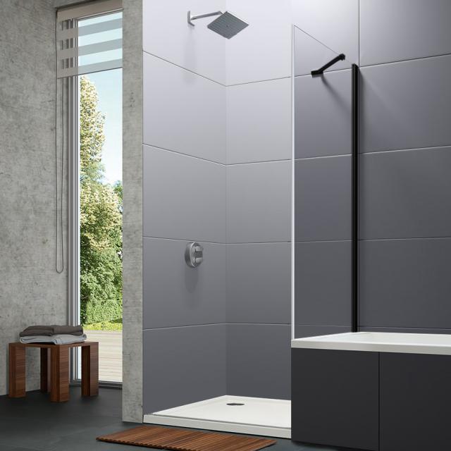HÜPPE Design pure kurze Seitenwand für Schwingtür ESG klar / black edition