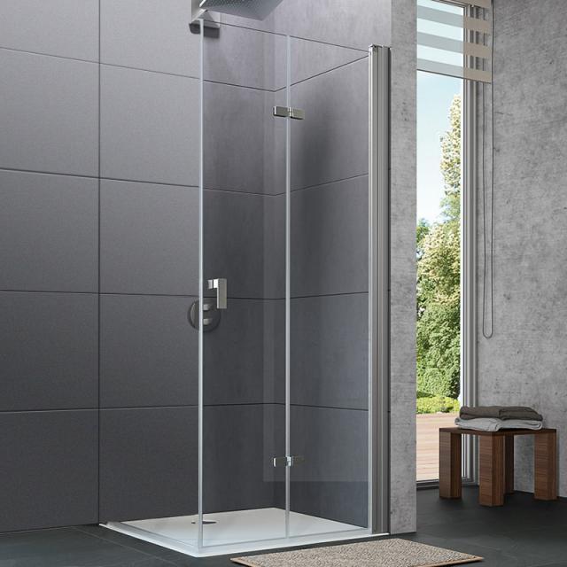 HÜPPE Design pure Schwingfalttür ESG klar / silber matt