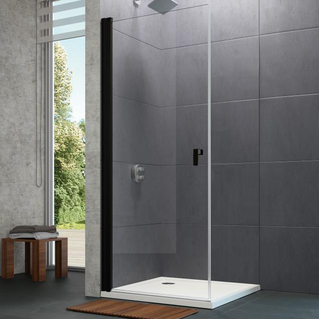 HÜPPE Design pure Schwingtür mit Innen-/Außenöffnung für Seitenwand ESG klar / black edition