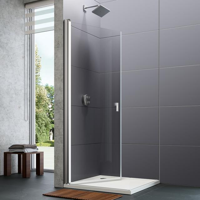 HÜPPE Design pure Schwingtür mit Innen-/Außenöffnung für Seitenwand ESG klar mit ANTI-PLAQUE / silber hochglanz