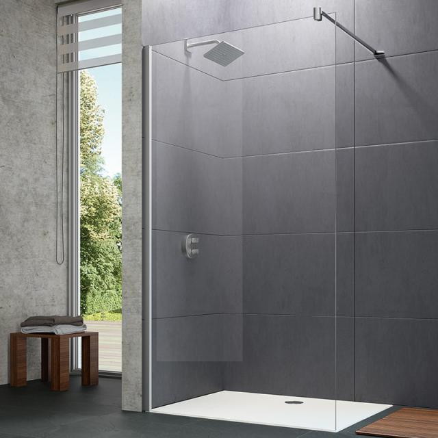 HÜPPE Design pure Seitenwand alleinstehend ESG klar / silber matt