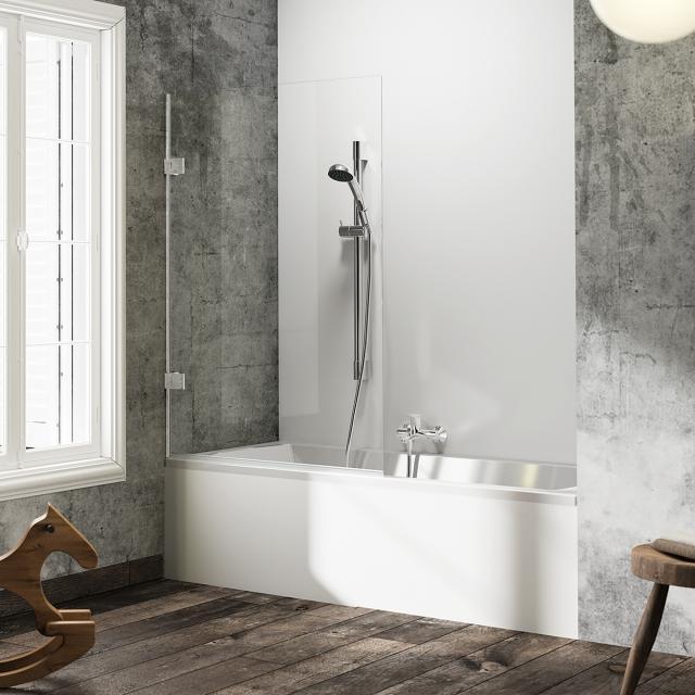 HÜPPE Solva pure rahmenlose Badewannenabtrennung 1-teilig ESG klar / silber hochglanz