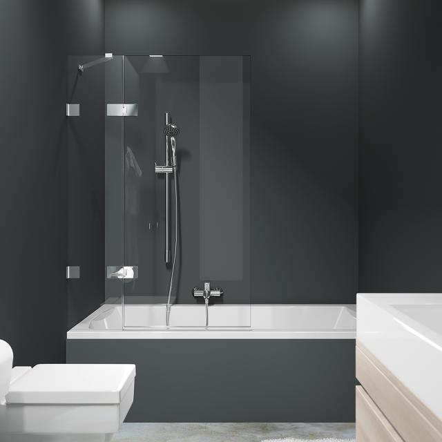 HÜPPE Solva pure rahmenlose Badewannenabtrennung 1-teilig mit festem Segment ESG klar / silber hochglanz