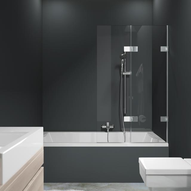 HÜPPE Solva pure rahmenlose Badewannenabtrennung Schwingfalttür ESG klar / silber hochglanz