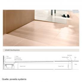 poresta systems Slot S Duschelement für Ablauf waagerecht, rechts mit Fliesenprofil 1,2 cm