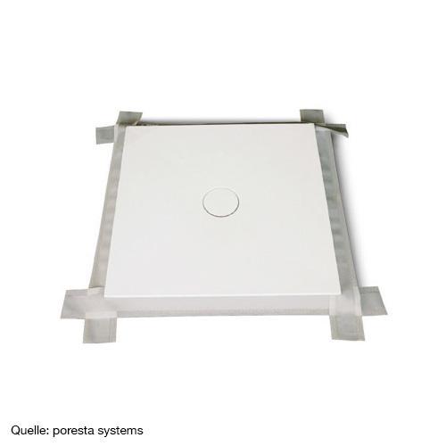 poresta systems Luna Duschelement, waagerechter Ablauf, zentriert 800 x 800 x 50 mm, Einbauhöhe 120 mm
