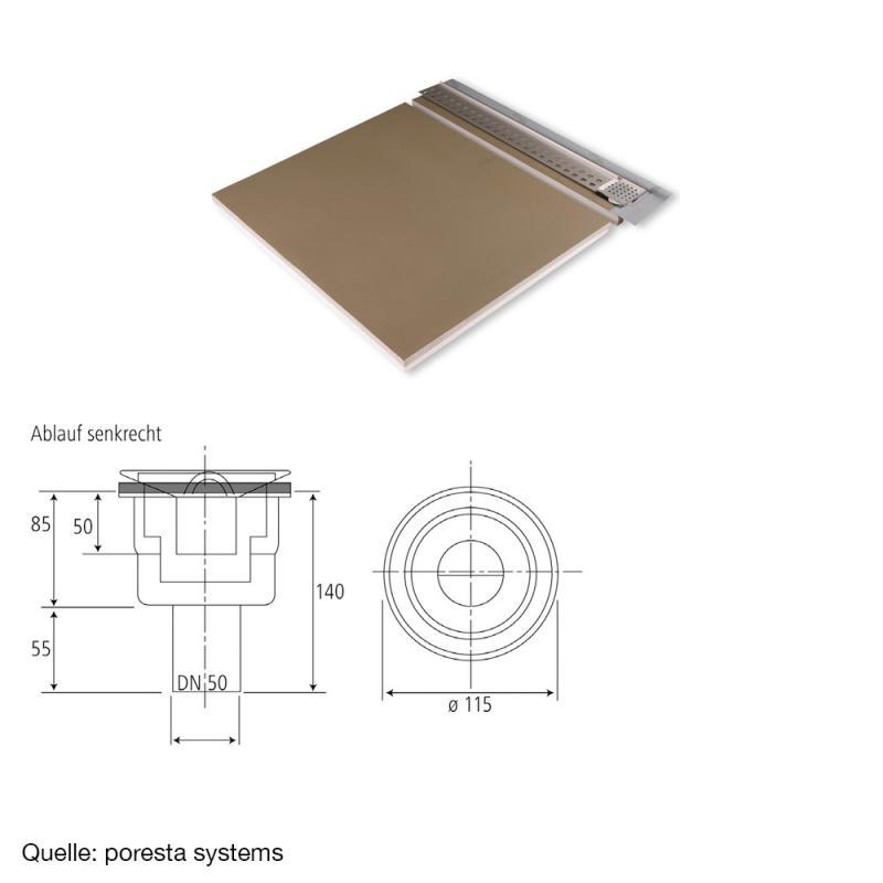 poresta systems slot s duschelement f r ablauf senkrecht links mit fliesenprofil 1 2 cm. Black Bedroom Furniture Sets. Home Design Ideas