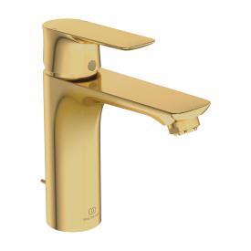 Ideal Standard Connect Air Einhebel-Waschtischarmatur GRANDE, für drucklose Speicher mit Ablaufgarnitur brushed gold